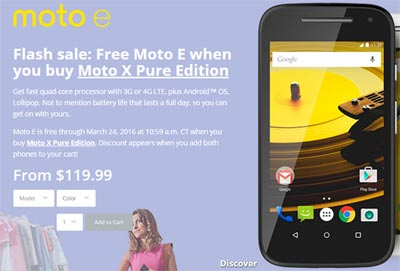 Motorola Offers Free Moto E With Purchase Of Moto X Pure Edition