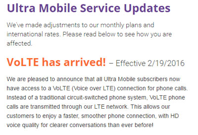 Ultra Mobile launched VoLTE