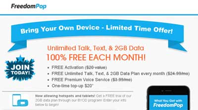 FreedomPop BYOD Promotion Offers Free Unlimited Talk, Text And 2GB Data