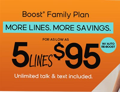 New Boost Mobile Family Plans Offer Five Lines for $95