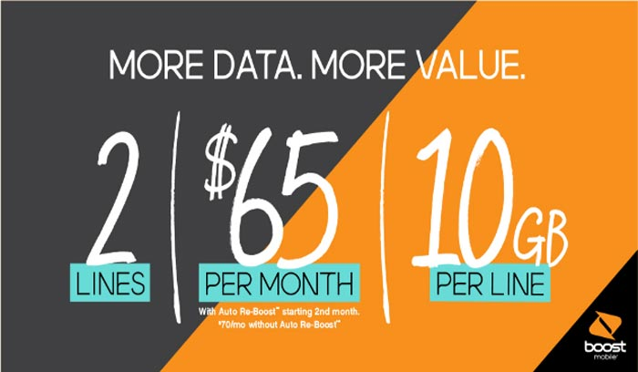 Boost Mobile 10GB Family Plan Promotion with 2 Lines for $65 Available Until July 6