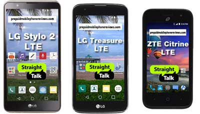 Straight Talk LG Stylo 2, LG Treasure and ZTE Citrine, All LTE, Available at Walmart