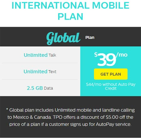 TPO Mobile Adds New $44 International Plan with Unlimited Calling to Mexico and Canada, $39 with Auto Pay
