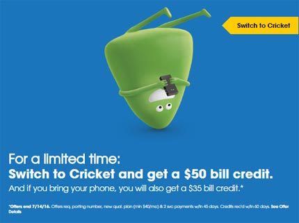 Cricket Offers A $50 Bill Credit Promotion To Switchers And $35 If They Bring Their Phone