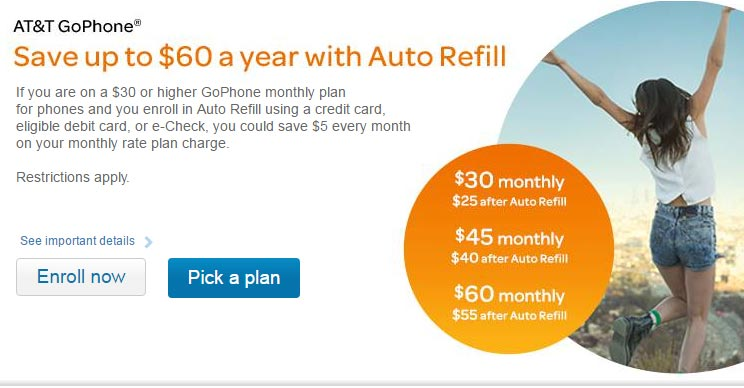 GoPhone Auto Refill Savings Program Now Available For $30 Monthly Plan