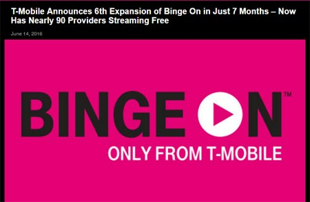 T-Mobile expands Binge On, now includes nearly 90 video streaming services