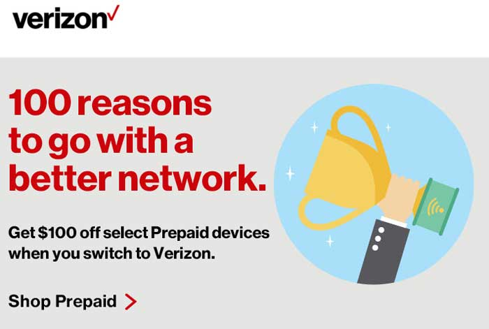 Verizon Prepaid Switch Promotion - $100 Off Select Smartphones