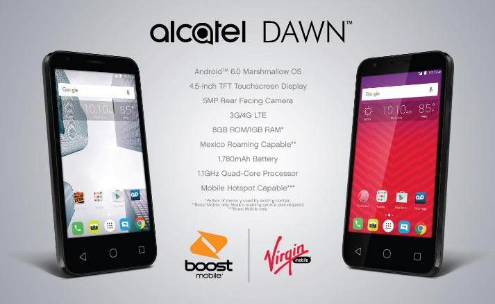 Boost and Virgin Mobile Alcatel Dawn Available for $69.99