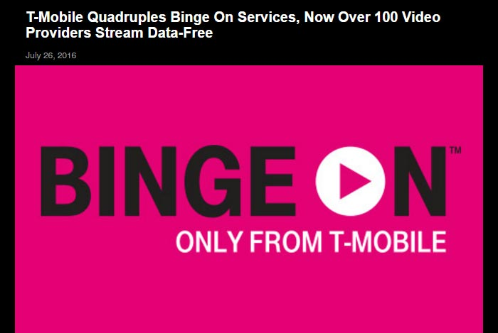 T-Mobile Expands Binge On With 16 New Video Streaming Providers, Now Includes Over 100 Services