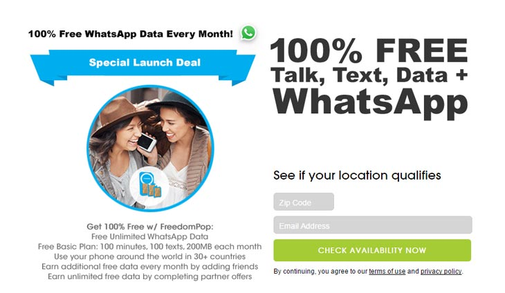 FreedomPop Launches SIM with Free Access to WhatsApp in the U.S. and 30 Other Countries