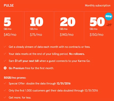 Karma Launches New Pulse 25GB Plan For $150 But Doubles Data To 50GB Until Dec. 31, 2016