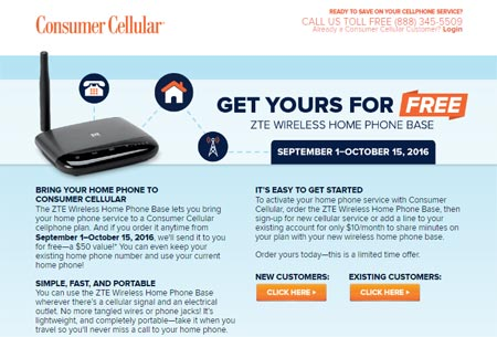 Consumer Cellular Offers ZTE Wireless Home Phone Base For Free