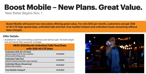 New Boost Mobile $35 2GB Plan Launches On November 1
