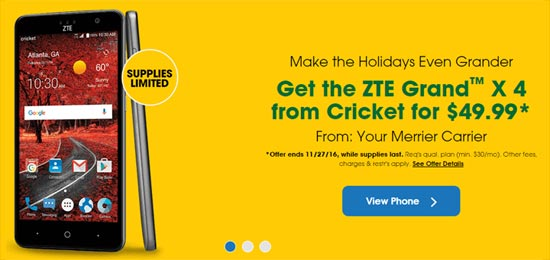 Cricket Black Friday Deal Offers ZTE Grand X Max 2 for $49.99