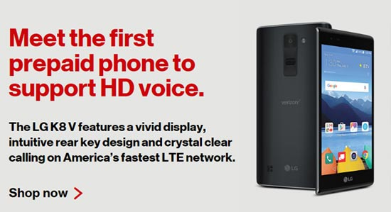 Verizon Launches LG K8 V, First Prepaid Phone With HD Voice Support