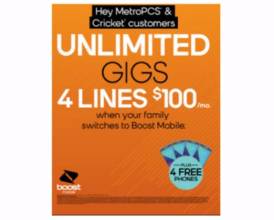 New Boost Mobile 4 Lines $100 Promotion with Unlimited Gigs Available Starting Feb. 14