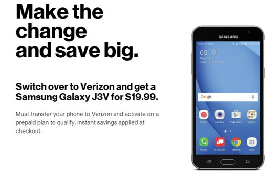Switch to Verizon Prepaid and get Samsung Galaxy J3V for $19.99