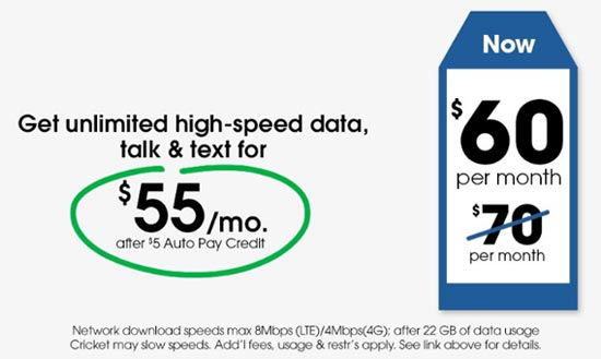 Cricket S Unlimited 4g Lte Plan Now Costs 60 Instead Of 70