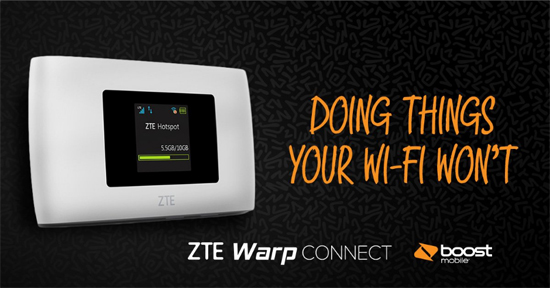 Boost Mobile ZTE Warp Connect Mobile Hotspot Available for $49.99