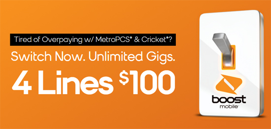 Boost Mobile 4 Lines $100 Promotion with Unlimited Gigs is Back, Available until June 1