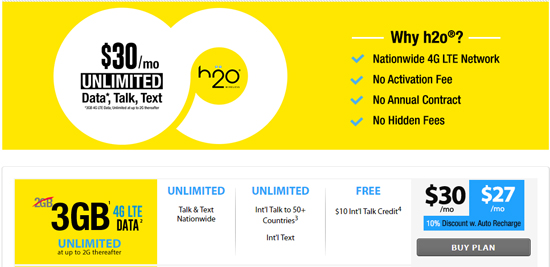 H2O Offers 3GB On $30 Plan Instead Of 2GB For New Customers