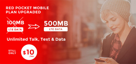 Red Pocket Increases Data on $10 Plan from 100MB to 500MB