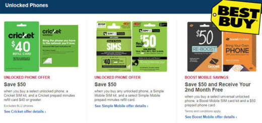 Great Deals for Unlocked Phones at BestBuy for Cricket, Boost and Simple Mobile