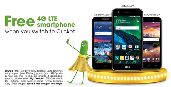New Cricket Promotion Offers Free Phones Including New Alcatel Verso for Switchers until April 12