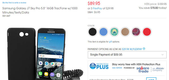 TracFone Samsung Galaxy J7 Sky Pro $89.95 with 1000 Minutes/Texts/Data at HSN.com