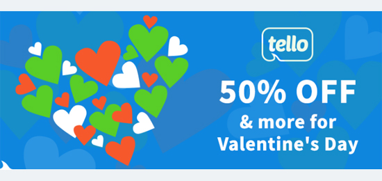 Tello Offers First Month 50% OFF for Valentine's Day and a Chance to Win 2 x Free Tello plans