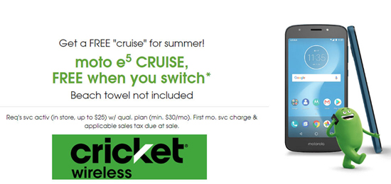 Cricket Wireless Promotion Offers Free Moto E5 Cruise for
