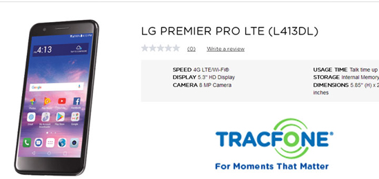 TracFone LG Premier Pro LTE Available for $99 99 - Prepaid