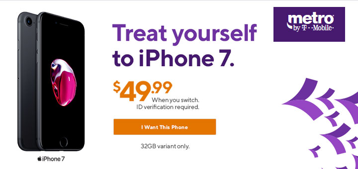 Metro by T-Mobile Promotion - iPhone 7 32GB for $49 if You Switch